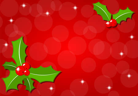 holly leaf: vector illustration of a christmas background with holly Illustration