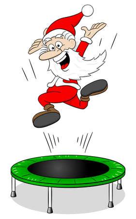 vector illustration of santa claus on a rebounder