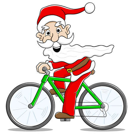 vector illustration of santa claus on bicycle Vettoriali