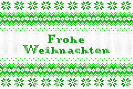 weihnachten: vector illustration of a seamless green and white knitted background Frohe Weihnachten (german) = Merry Christmas