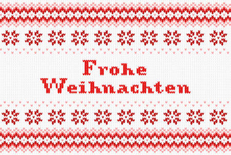weihnachten: vector illustration of a seamless red and white knitted background Frohe Weihnachten (german) = Merry Christmas
