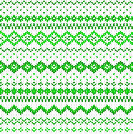 vector illustration of a seamless green and white knitted background Illustration