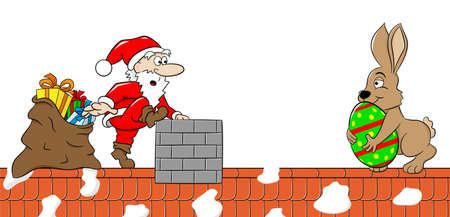 nikolaus: vector illustration of santa claus who meets the easter bunny on a roof Illustration