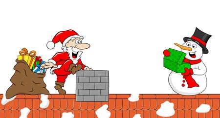 nikolaus: vector illustration of santa claus who gives a gift to a snowman at christmas