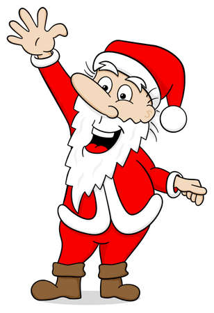 red happiness: vector illustration of a waving cartoon santa claus on white Illustration