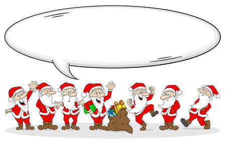 clauses: vector illustration of a group of santa clauses wishes merry christmas