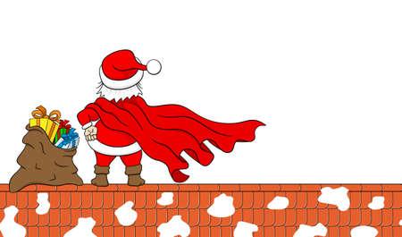 weihnachtsmann lustig: vector illustration of santa claus hero at work on a roof Illustration