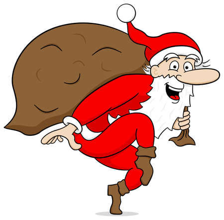 vector illustration of a santa claus goes on tiptoe