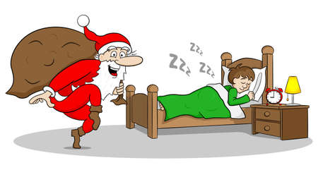 snore: vector illustration of a santa claus goes on tiptoe