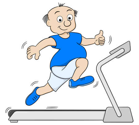 white people: vector illustration of a overweight man jogging on a treadmill