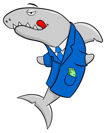 conman: vector illustration of a smiling cartoon financial shark Illustration