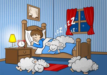 sleeping man: vector illustration of sheep fall asleep on the bed of a sleeping man