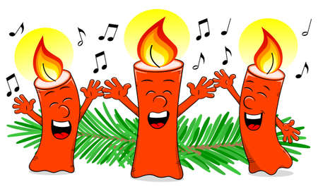 carol singer: vector illustration of cartoon Christmas candles singing a Christmas carol Illustration