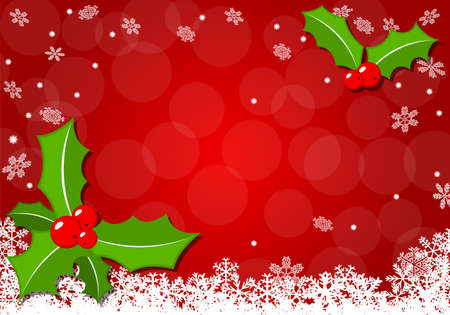 vector illustration of a christmas background with holly Illustration