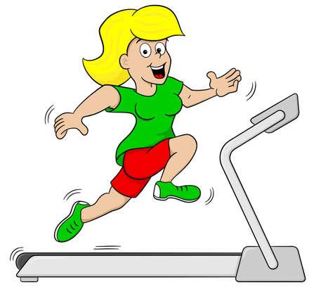 vector illustration of a woman jogging on a treadmill Vetores