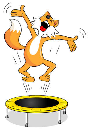 trampoline: vector illustration of a fox  on a trampoline