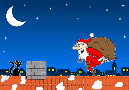 sneak: vector illustration of a santa claus goes on tiptoe