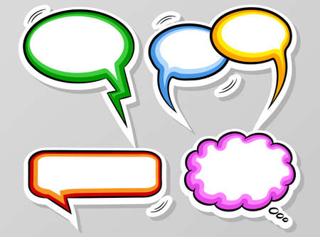 speech icon: vector illustration of a collection of comic style speech bubbles