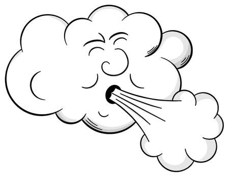 vector illustration of a cartoon cloud that blows wind