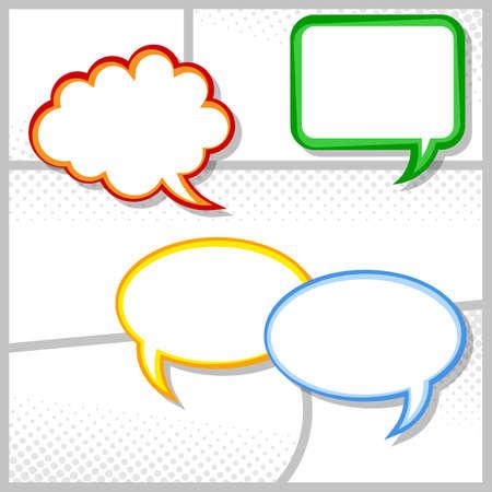 nubes caricatura: ilustración vectorial de algunas tramas cómicas como fondo con las burbujas del discurso