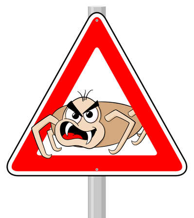 borreliosis: vector illustration of a ticks cartoon warning sign