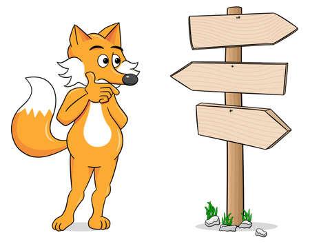 dudando: ilustración vectorial de un zorro de la historieta que mira poste indicador vacío