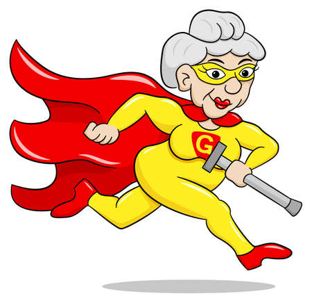 vector illustration of a running senior super heroine with cape Illustration