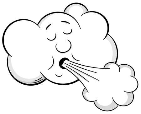 illustrazione vettoriale di una nuvola cartone animato che soffia vento Vettoriali