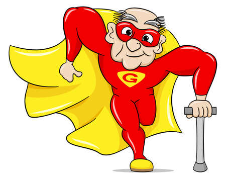 heroism: vector illustration of a running senior super hero with cape Illustration