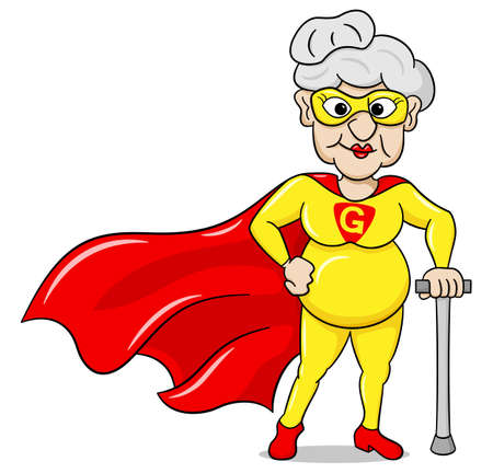 oldies: vector illustration of a senior super heroine with cape Illustration