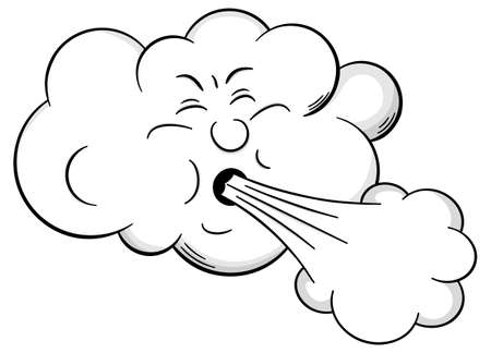 cloud: vector illustration of a cartoon cloud that blows wind