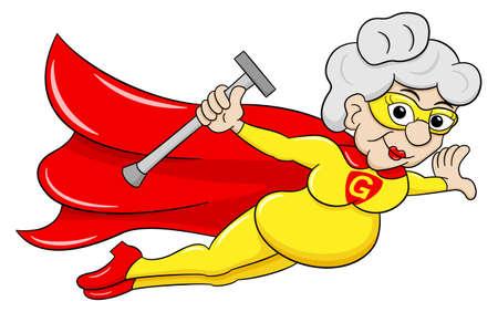 abuela: ilustraci�n vectorial de una hero�na super senior volar con el cabo Vectores