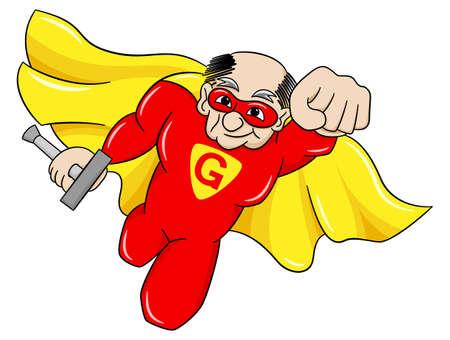 pensionado: ilustración vectorial de un súper héroe con capa volando alto