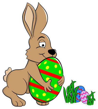 fun grass: vector illustration of a easter bunny who loves his egg