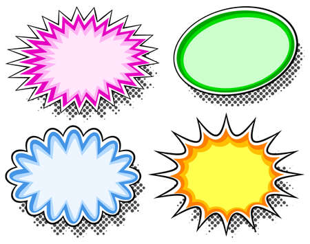 outburst: illustration of four colorful effect bubbles