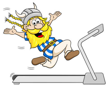 adult man: illustration of a viking jogging on a treadmill Illustration