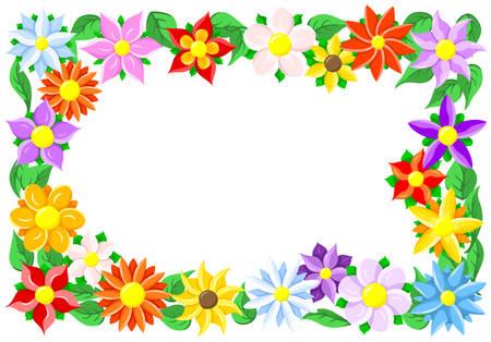 illustratie van een kleurrijke bloem border