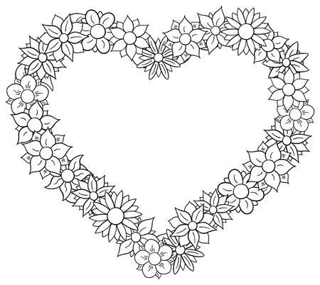 illustration of a flower border heart