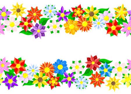 illustration of horizontal seamless flower borders