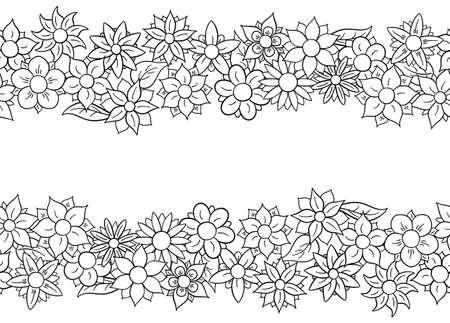 daisy: illustration of horizontal seamless flower borders