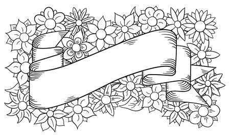 flower banner: illustration of a banner with floral background