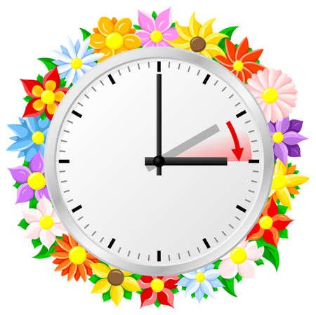 Tiempo: ilustración de un reloj de cambiar al horario de verano verano verano comienza el tiempo