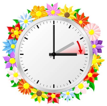 illustration of a clock switch to summer time  daylight saving time begins Illustration