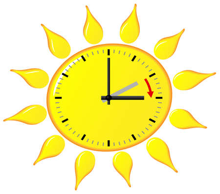 daylight: illustration of a clock switch to summer time  daylight saving time begins Illustration