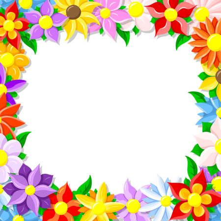borde de flores: ilustración de un borde de color de la flor