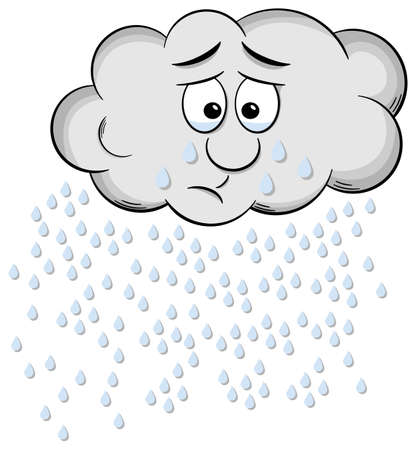 weeping: illustration of a weeping cartoon raincloud isolated on white