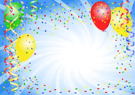 Ilustración vectorial de un fondo de fiesta con globos Foto de archivo - 53434313