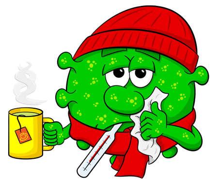 influenza a virus: vector illustration of a cold virus is sick Illustration