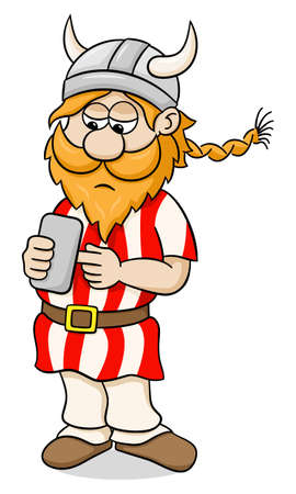 mobile cellular: vector illustration of a viking with a smartphone