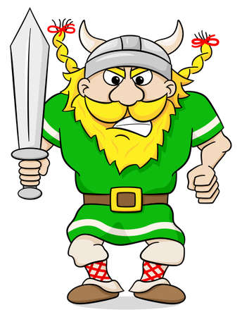 cartoon warrior: vector illustration of an angry viking with sword Illustration
